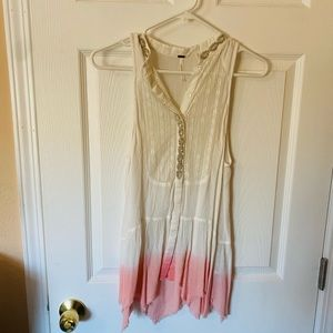 NWOT Free People Tie-dye Anytime Top Lace & Beads